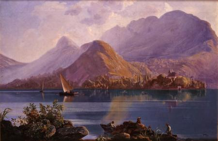 Vue du lac d'Annecy avec barque et Château de Sales